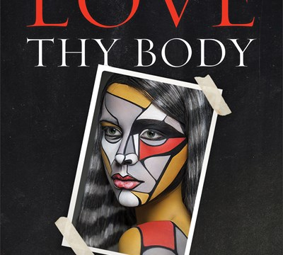 A portrait picture of a woman who has red, gold and grey paint on her face and upper body on the cover of the book, Love Thy Body by author Nancy R Pearcey